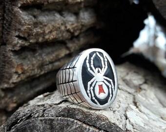 Vintage Black Widow G&S Biker Ring - Size 11.5