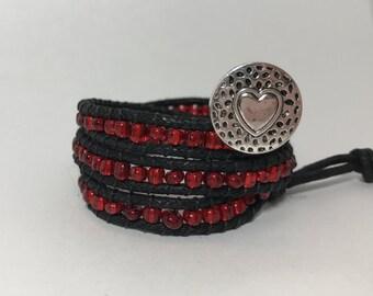 Chan Luu Style Bracelet, Black & Red Wrap Bracelet, Beaded Wrap Bracelet