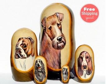 FREE Shipping * Dogs Nesting dolls (5 pcs) * Matryoshka * Russian nesting doll * Stacking dolls * Hand Painted Nesting dolls