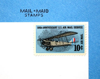 Air mail 50th anniversary || Set of 10 unused vintage postage stamps