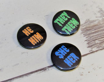 Spooky Monster Pronouns, 25mm Pin Badge, Gay Ally, LGBT, Gay Pride, Gay Rights, LGBT Rights, Educate
