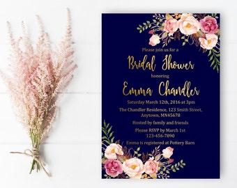 Navy and Gold Boho Floral Bridal Shower Invitation, Printable Bridal Shower Invite, Gold Foil Boho Bridal Shower Invite, Download, 110-NG