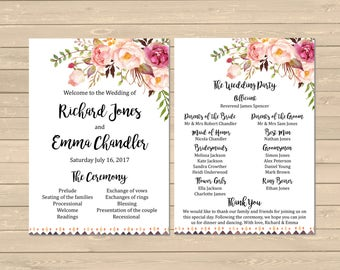 Printable Floral Wedding Program, Tribal Boho Wedding Program, Boho Order of Service, Pink Floral Boho Order of the Ceremony, Download 109-W