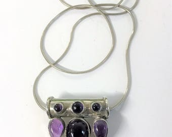 A Beautiful Sterling Silver & Purple Stone Pendant on Sterling Silver Chain