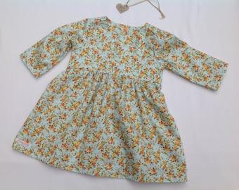 Floral dress, Girls dress, baby girl floral dress, girls clothing, handmade dress, age 18 months, handmade, ONE ONLY