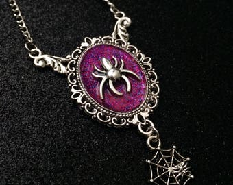 Purple Spider Necklace, Spider Jewelry, Spider Pendant, Gothic Jewelry, Gothic Glitter Jewelry, Gothic Cameo Necklace