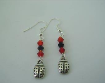 Ladybird earrings,  lady bug earrings, hooked earrings, silver plated earrings, beaded earrings, sparkly earrings