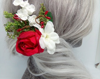 Red Rose & White Delphinium Hair Clip
