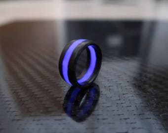 Carbon Fiber Ring With purple Glow, polished finish. 9 mm width