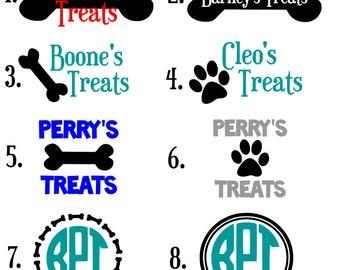 Pet Treat Decal / Dog Treats Decal / Bone Decal
