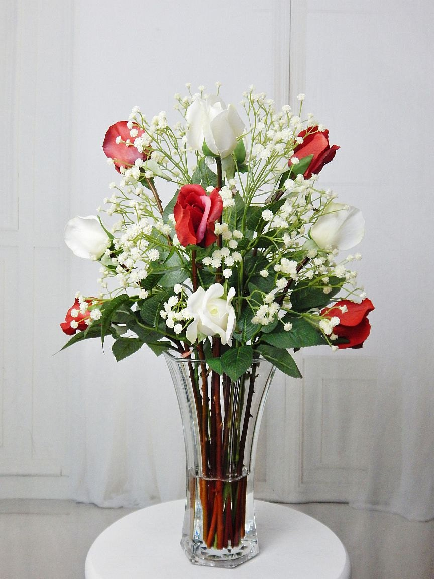 Silk roseroses glass vase fauxacrylicillusion water real silk roseroses glass vase fauxacrylicillusion water real touch flowers tall floral arrangement centerpiece red white cream reviewsmspy
