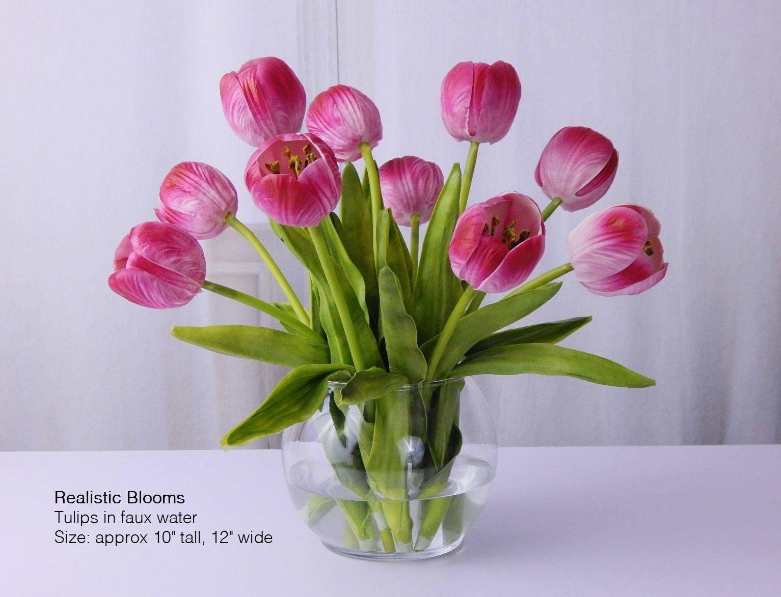 Pink tuliptulips silk floral arrangement faux water acrylic pink tuliptulips silk floral arrangement faux water acrylic illusion glass vase real touch flowers centerpiece gift home decor reviewsmspy