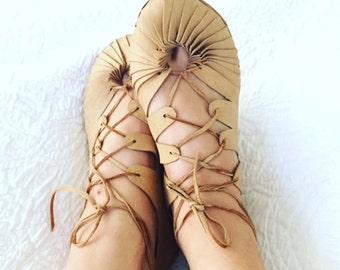 Petals, leather sandals