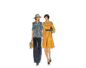 1970s Vintage Sewing Pattern - Butterick 4126 - Babydoll Blouse Dress
