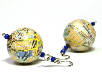 Earrings LONDON University Shoreditch city map gift box