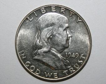 1949 AU Franklin Silver Half Dollar Free Shipping