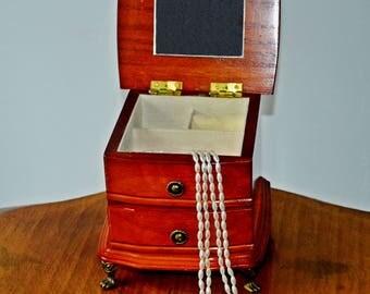 Vintage Wood Jewelry Music Box, Gunther Mele Music Box, 1976