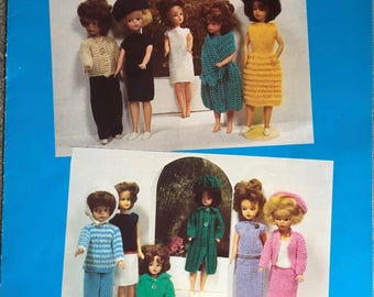 Dolls Clothes Knitting Pattern, Hayfield Knitting Pattern, Teenager Dolls Clothes, Ribbed Dress, Jacket, Trousers, Skirt, Stole, No. 7040
