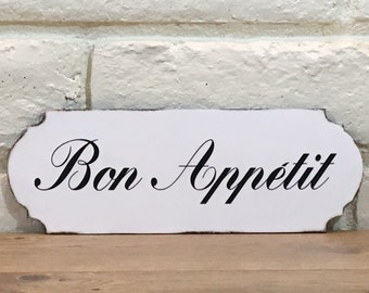 Bon Appetit Wooden Sign, Kitchen Sign, French Country Decor, Bon Appetit Sign, French Theme, Kitchen Decor, Black And White Decor, Word Sign