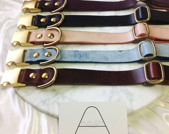 Leather Dog Collar Personalised Quick Release Name Custom Monogram Avaloncraft Henbury Dog Collar