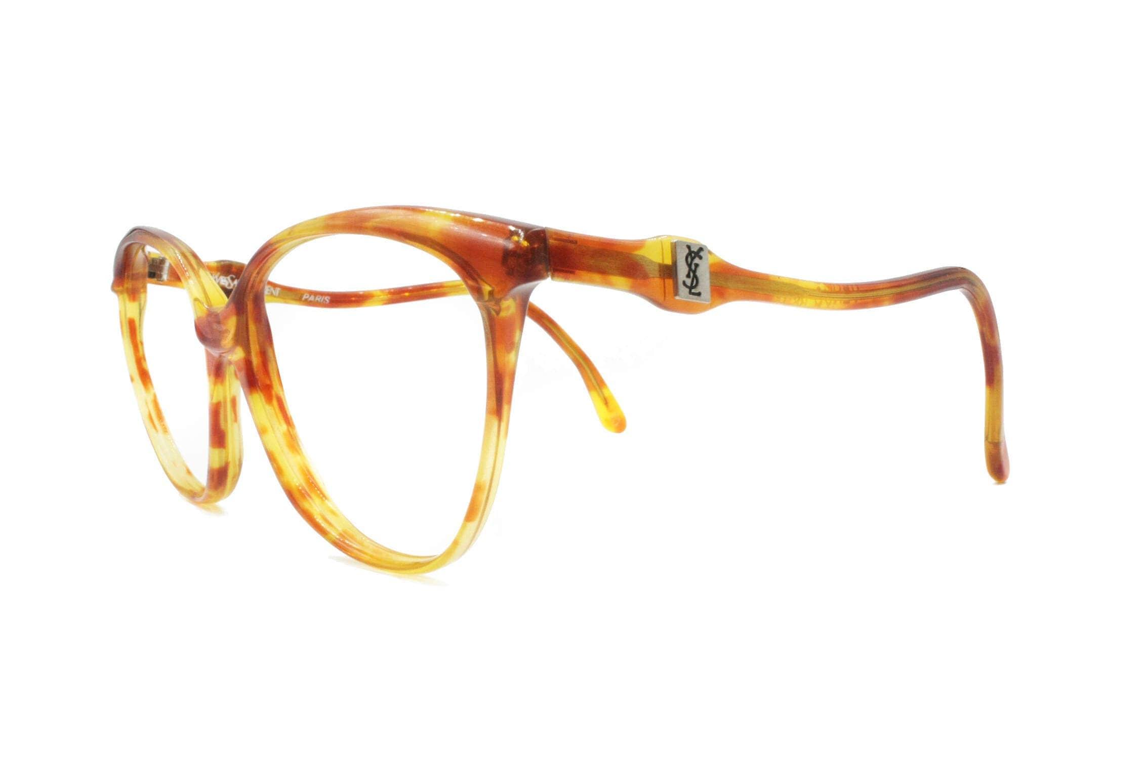 07476472b3 Yves saint Laurent YSL vintage acetate glasses frame blondie e brown caramel     half lunettes