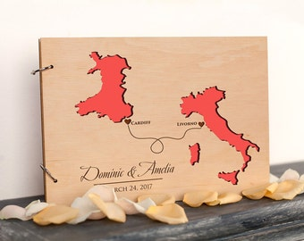 Personalized Couple Map Wedding Guest Book, Rustic Custom guest book, Countries and States Guest Book, Travel Wedding guest book Love Map
