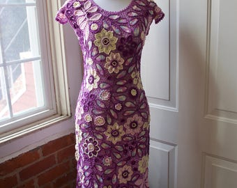 Irish Lace Dress, Hand Made Crochet Dress, Irish Crochet, Hand Knitted, Handmade Lace, Sheath Dress,