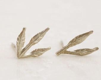 Silver Leaf Earrings, Leaf Stud Earrings, Leaf Post Earrings, Sterling Silver Stud Earrings, Botanical Earrings, Minimal Earrings