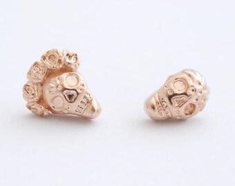 Rose Gold Skull Earrings, Skull Post Earrings, Goth Earrings, Skull Stud Earrings, Sugar Skull Earrings, Rose Gold Jewelry, Rose Gold Studs