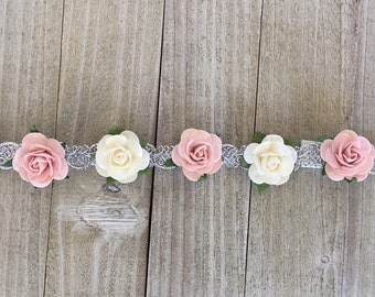 Pink and white flower crown, Pink and white flower halo, pink flower girl crown, Pink baby flower crown, pink baby flower halo, flower girl