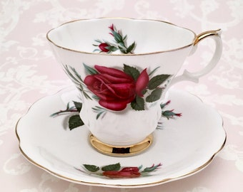 Vintage Royal Albert English Bone China Tea Cup and Saucer, Patricia Pattern from the Sweetheart Roses Series, Lyric Shape, ca. 1950-1970's