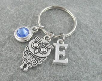 Owl keychain, owl keyring, owl gift, initial keychain, birthstone keychain, personalized keyring, custom keychain, monogram keychain, bird