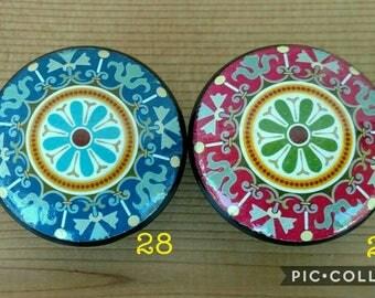 Set 2  Oriental Mandala OR Woodland Animals Wood Knobs Size 1.5 - Cabinet Knob, Dresser Pull