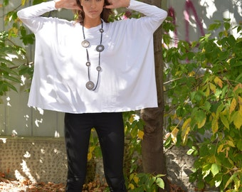 Plus Size Top, White Tunic Top, Plus Size Tunic, Casual Top, Loose Tunic, Long Sleeved Top, Oversized Tunic, Party Top by Danellys D16.08.13