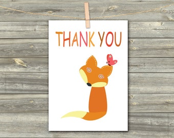 DIGITAL CARD FOX. Tnank you download card Greeting Card for Her  Card for Him card for friend