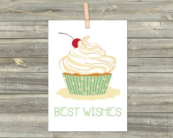 DIGITAL CARD CUPCAKE download card Greeting Card best wishes cards