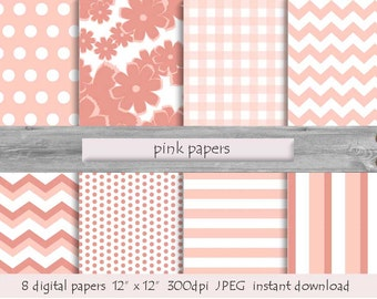 PINK DIGITAL PAPER Pink Pattern Instant Download Pink Printable Background Flower Paper Geometrical Paper Polka Dots Paper Baby Paper