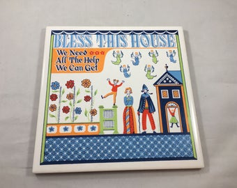 Vintage Scandinavian Folk Art Style Bless This House We Need All The Help We Can Get Funny Tile/Trivet