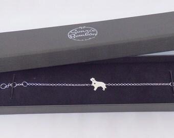 Dog bracelet | Silver Dog bracelet | Dog pet silhouette design bracelet | Dog name bone bracelet personalized | Dog breed name bracelet