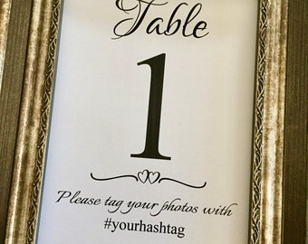 Wedding Hashtag Printed Table Numbers, Social Media Sign 5x7 Table Numbers,#YOURHASHTAG 5x7 Table Numbers,Any Color,Printed Table Numbers