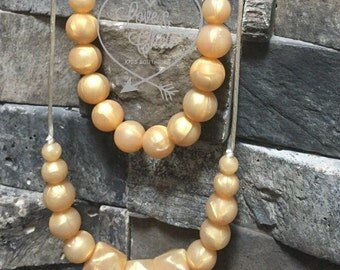 Mommy & Me- All Gold or Pearl silicone chew necklace set