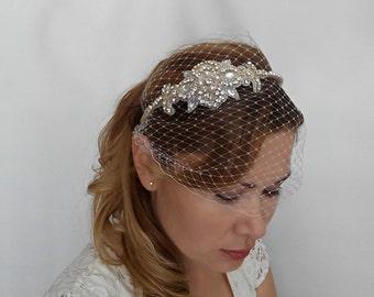 Birdcage Veil Headband with Crystal Headpiece, Crystal Headband Veil, Small Birdcage Veil, Ivory Veil, White Birdcage Veil