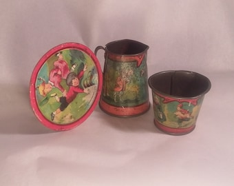Antique Lithographed Tin Child's Toy Cup, Plate & Pitcher Nursery Rhymes, Ohio Art
