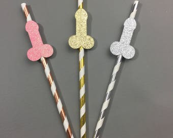 10+ Bachelorette Party Glitter Penis Straws - Party Decor - Wiener, Last Fling before the Ring, Dirty Thirty, Gold Metallic, Gold Glitter