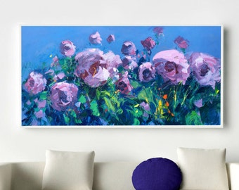 Home Decor Flower Painting Oil on Canvas Large Paintings Floral Wall Art Bedroom Office Living Room Decor Gift ideas for Women Wife