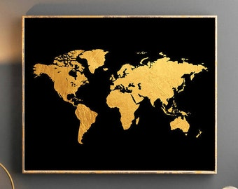 Gold world map printable wall art gold glitter world map gold world map world map wall art gold world map poster golden world map watercolor wallpaper gumiabroncs Gallery