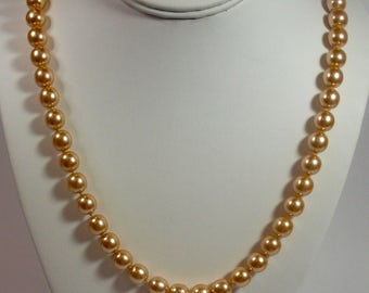 Vintage, Gold Coloured Beaded Necklace Signed (2782)
