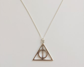 Harry Potter Inspired Charm Necklace - The Deathly Hallows Symbol - Handmade Silver Necklace