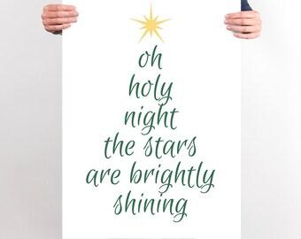 Oh Holy Night PRINTABLE Christmas Poster Wall Art Decoration Christmas Print Decor Christmas Tree Typography