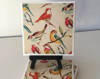 Bird Ceramic Tile Coasters, Bird Coasters, Drink Coasters, hostess gift, barware, Home Decor, gift for Bird lovers, Mothers day gift